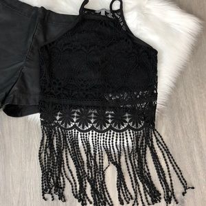 Charlotte Russe beautiful black lace crop topsizeS